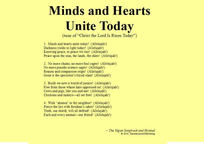 Minds and Hearts Unite Today | from the Vegan Songbook & Hymnal